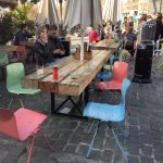 Barcelona Cafe Tables from New Oak Railway Sleepers