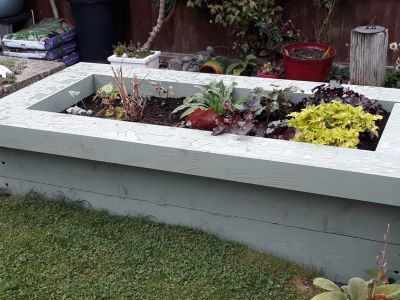 Karen's bank holiday project - painted railway sleeper raised beds