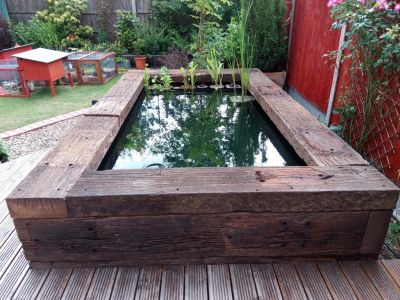HOW TO BUILD A RAISED RAILWAY SLEEPER POND