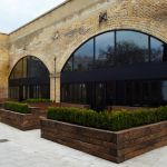 London Restaurant's terrace planters with railway sleepers