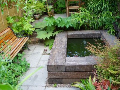 how to build a raised pond with railway sleepers. Black Bedroom Furniture Sets. Home Design Ideas