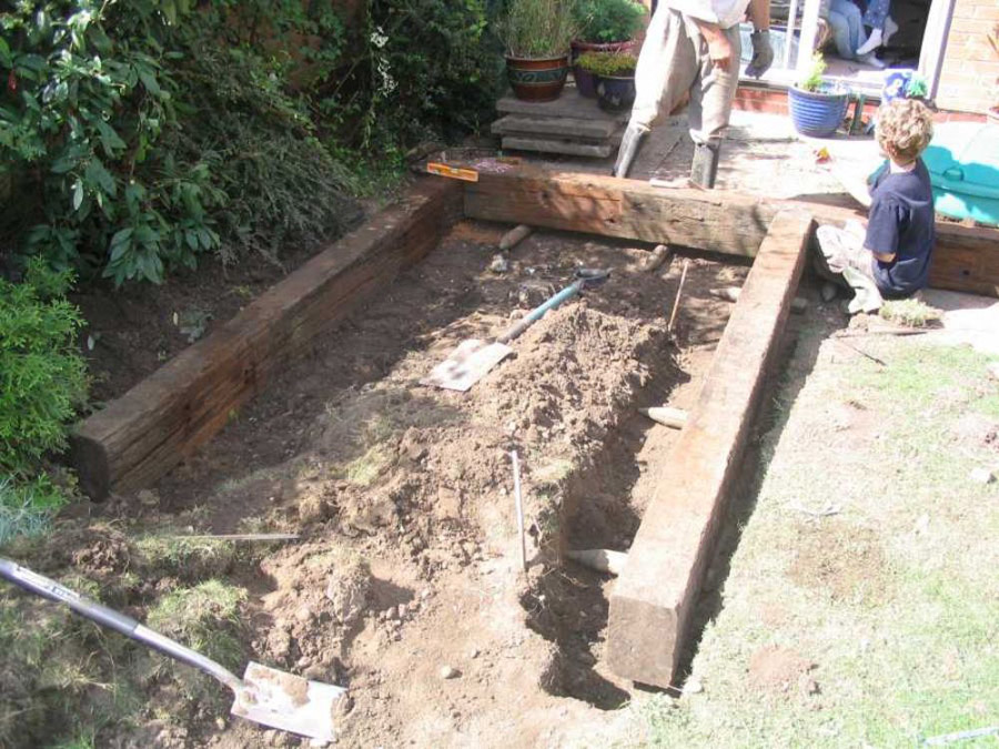 Questions about landscaping projects for Garden pond design using sleepers