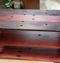 Mauritz's second table from reclaimed Jarrah railway sleepers