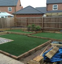 Bruce's re-landscaping with new railway sleepers