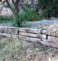 Turkish retaining walls with old sleepers