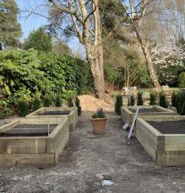 Alex's vegetable beds from new railway sleepers