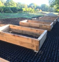 Alister's collection of new railway sleeper raised beds
