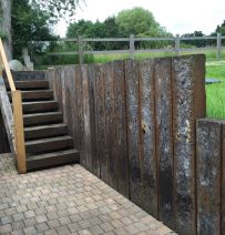 Azobe railway sleepers retaining wall