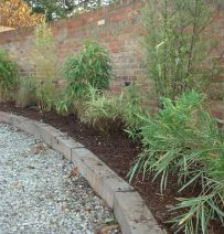 Bamboo raised bed from railway sleepers