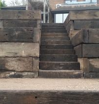 Barney's Steps & Wall with used Jarrah Railway Sleepers