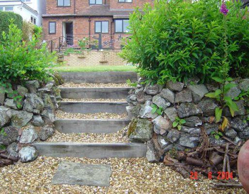 Bobu0027s Oak Railway Sleeper Steps