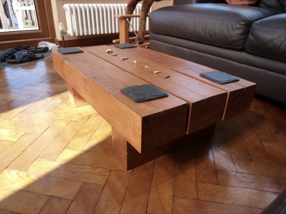 kingsize bed & coffee table from railway sleepers