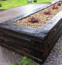 Buckfastleigh Station raised bed with railway sleepers