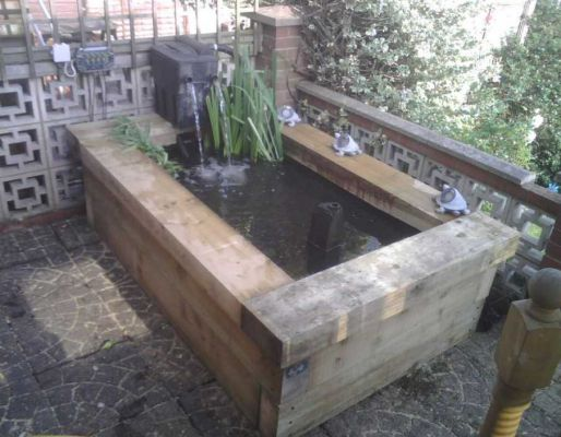 Chris Foster's raised pond with railway sleepers