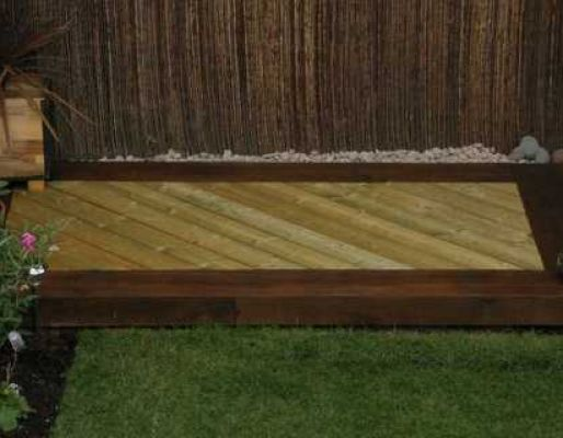 Chris & Louise's deck with new pine railway sleepers