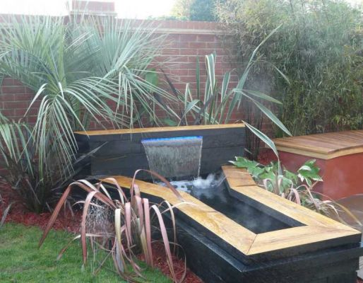 Clem Francis's amazing water feature with railway sleepers