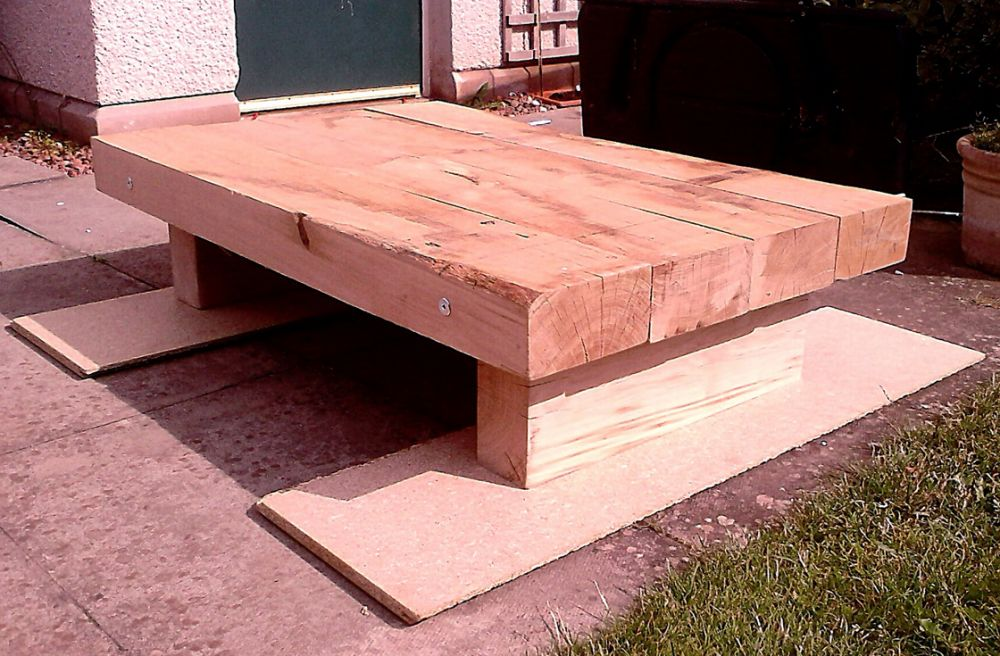 Constructing a coffee table from new oak railway sleepers
