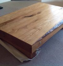 Simon Daff's Coffee Table with New Oak Railway Sleepers