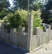 Premier Inn railway sleeper retaining wall & raised bed