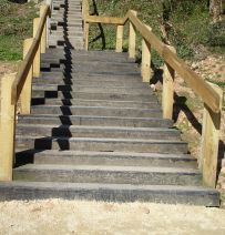 Creswell Craggs Flight of Stairs from railway sleepers