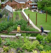 Carrying railway sleepers around your sloping garden