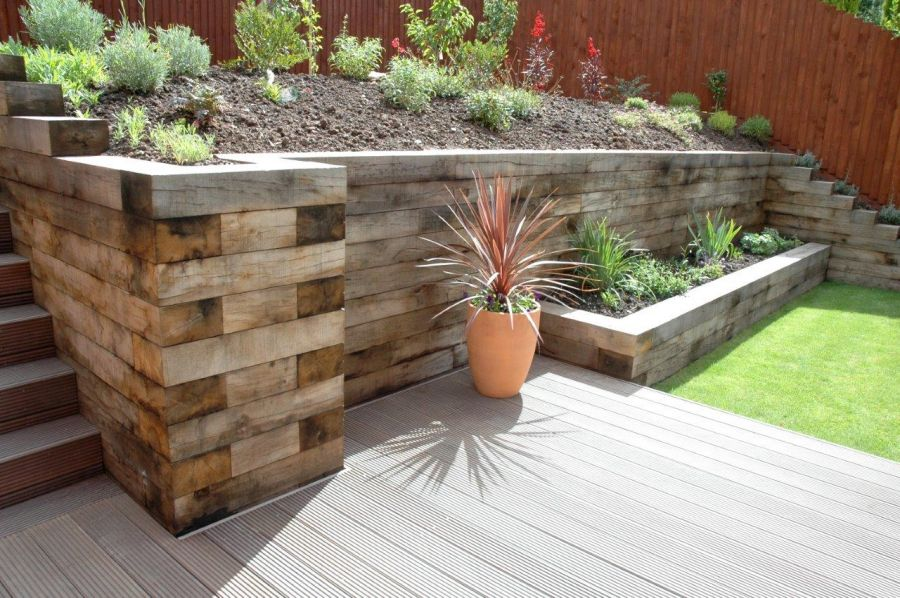 Landscaping with new oak railway sleepers for Garden pond design using sleepers