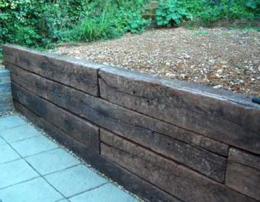 Dan's railway sleeper wall