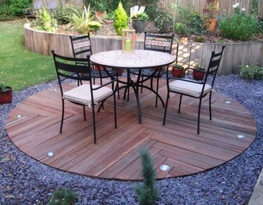 Dave Chamber's circular patio with African azobe