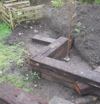 Dave's angled raised garden with Jarrah railway sleepers
