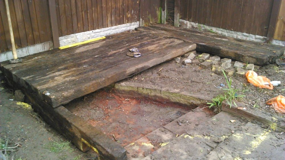 Deck Made From Used Railway Sleepers