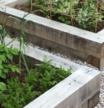 Derek's raised veg beds from new oak railway sleepers