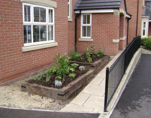 Duncan Saunder's raised beds with used railway sleepers