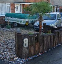 Duncan's front drive entrance with used Dutch Oak railway sleepers
