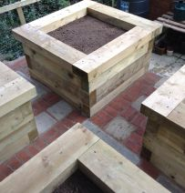 Eoin's beautiful raised veg beds with new railway sleepers