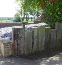 Epperstone retaining wall from old railway sleepers