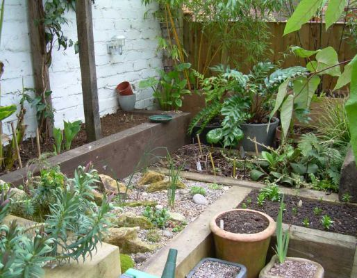 Emily and Ewen's landscaping with railway sleepers