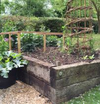Folkingham raised vegetable beds with old railway sleepers