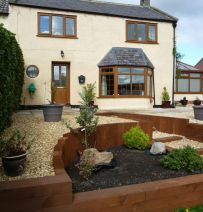 Lesley & Mark's front garden transformation with railway sleepers