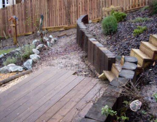 Jonathan's railway sleeper terrace wall