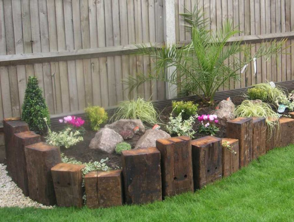 Railway sleepers for Unique garden border ideas