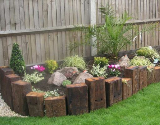 Kevin Shipley's raised beds with vertical railway sleepers