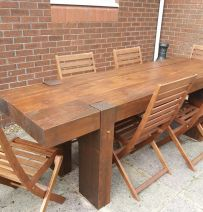 Long garden Table from new 2.4m railway sleepers