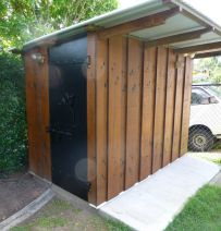 Luke's unique garden shed from planked railway sleepers