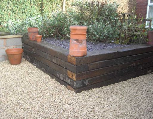 Geoffrey Wood's raised bed with railway sleepers