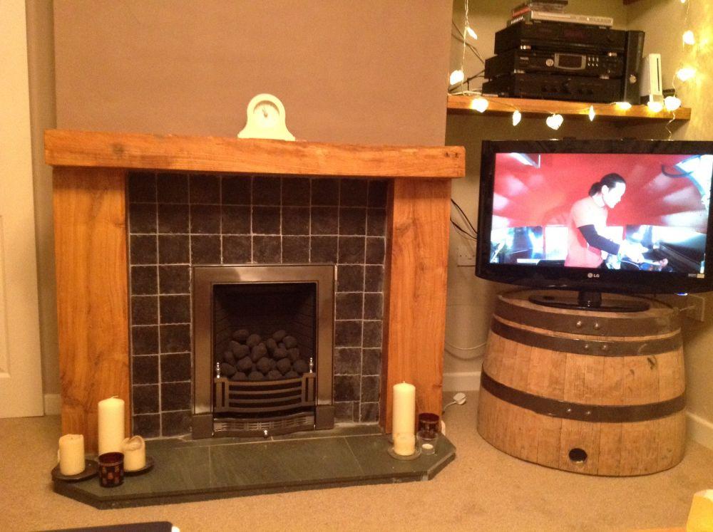 Graham's railway sleeper fire surround & barrel TV stand