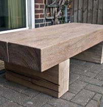 Greg Blundell's table with tropical hardwood railway sleepers
