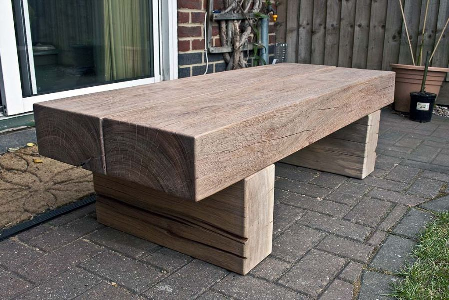 greg 39 s table with tropical hardwood railway sleepers. Black Bedroom Furniture Sets. Home Design Ideas