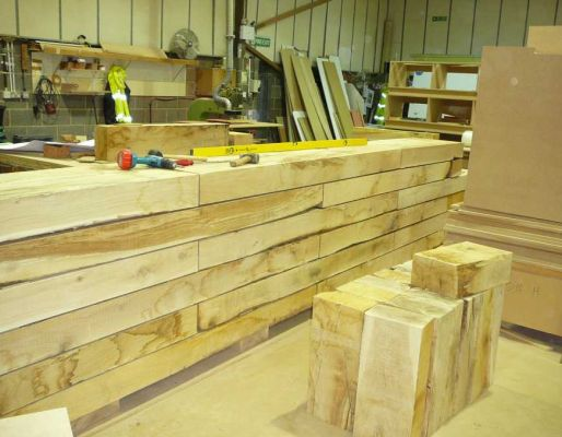 O2 Dome's bar project with new oak railway sleepers