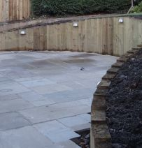 Hamilton Knight's beautiful curved wall with new railway sleepers
