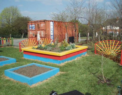 Harden Primary School's raised bed with railway sleepers